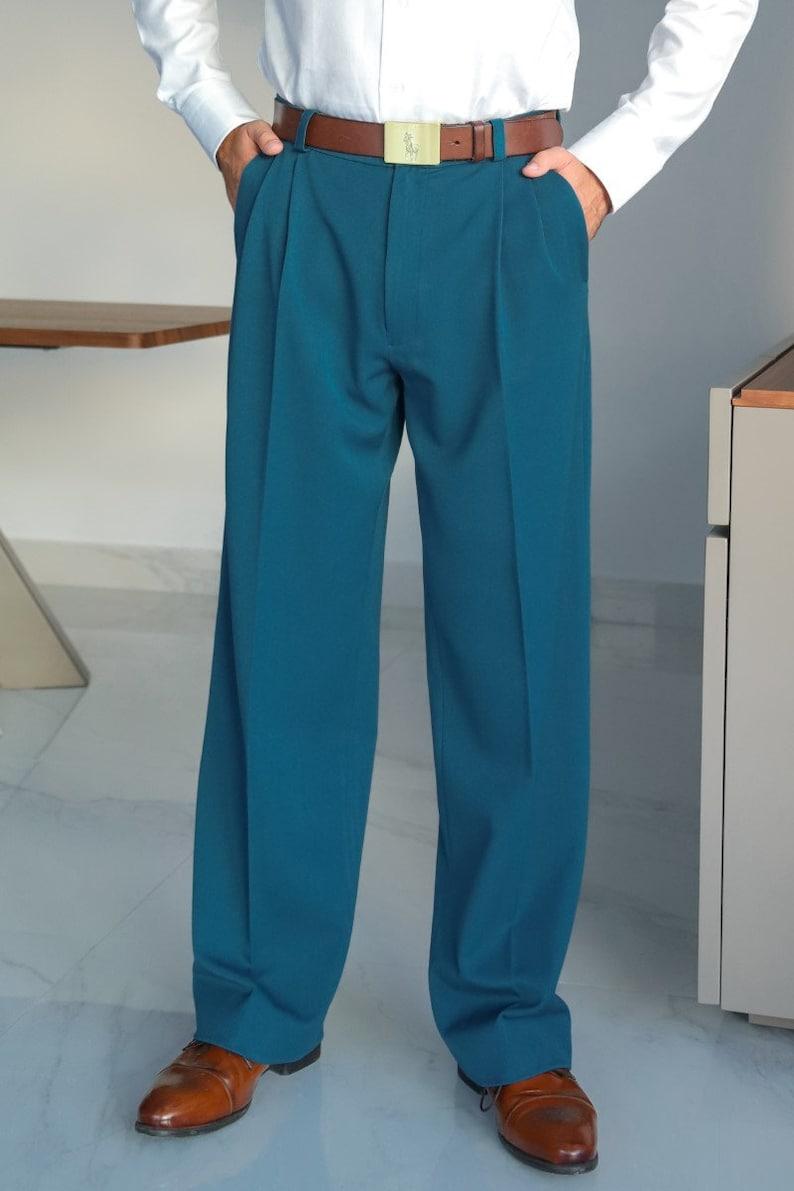 1950s Men's Pants, Trousers, Shorts | Rockabilly Jeans, Greaser Styles Men Argentine Tango pants Men latin dance pants Mens blue formal event pants Mens blue wide leg trousers Men wedding guest pants  AT vintagedancer.com