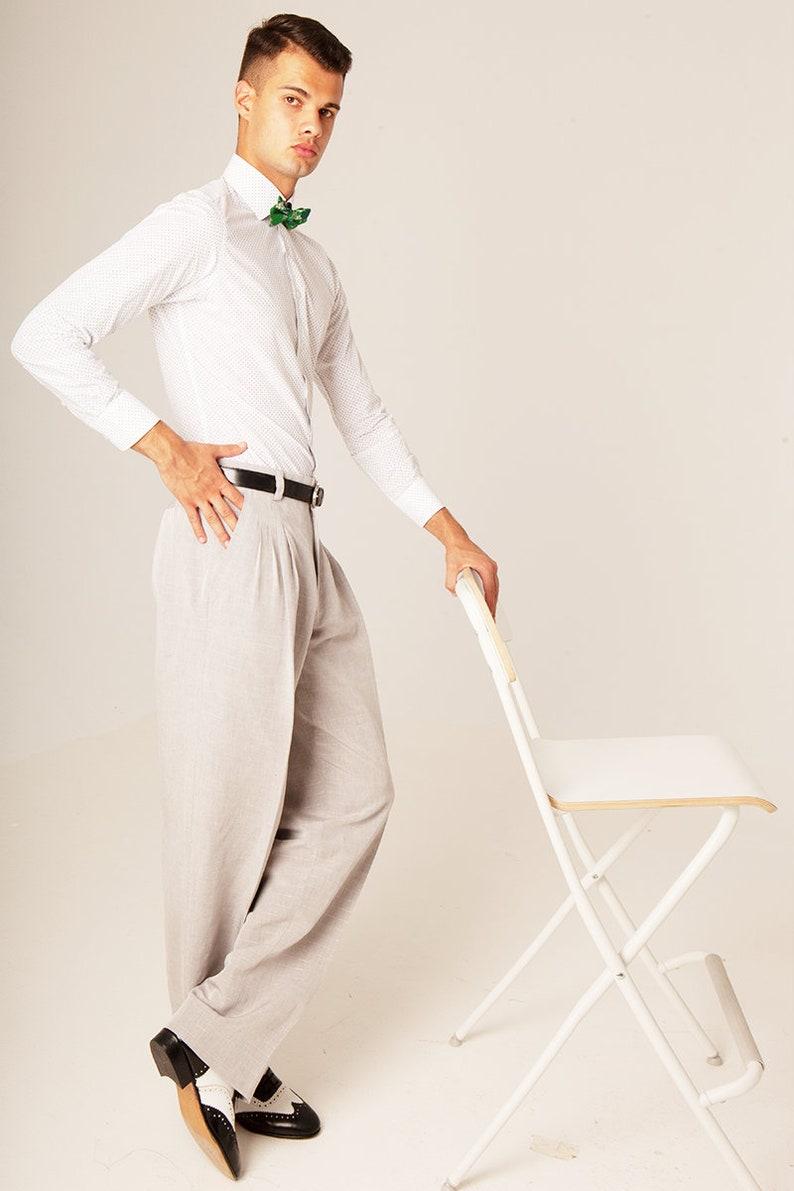 1950s Men's Pants, Trousers, Shorts | Rockabilly Jeans, Greaser Styles Men Argentine Tango pants Light gray men linen trousers Men social dancing pants Men summer evening pants Thin golden stripes men pants $182.00 AT vintagedancer.com