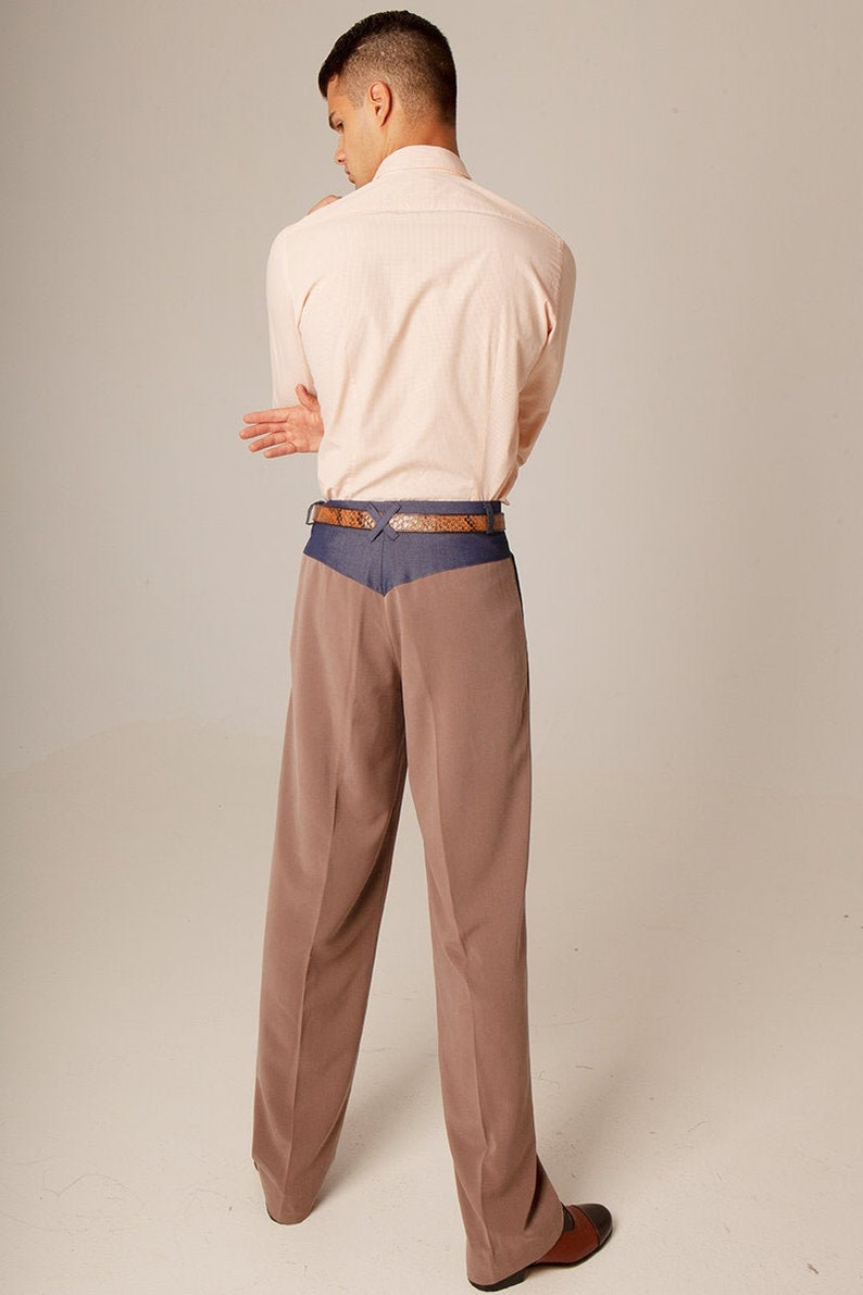 1950s Men's Pants, Trousers, Shorts | Rockabilly Jeans, Greaser Styles Mens Argentine Tango pants Ash brown pleated pants Mens latin dance trousers Mens classic wide leg pants Denim detail men pants $195.07 AT vintagedancer.com
