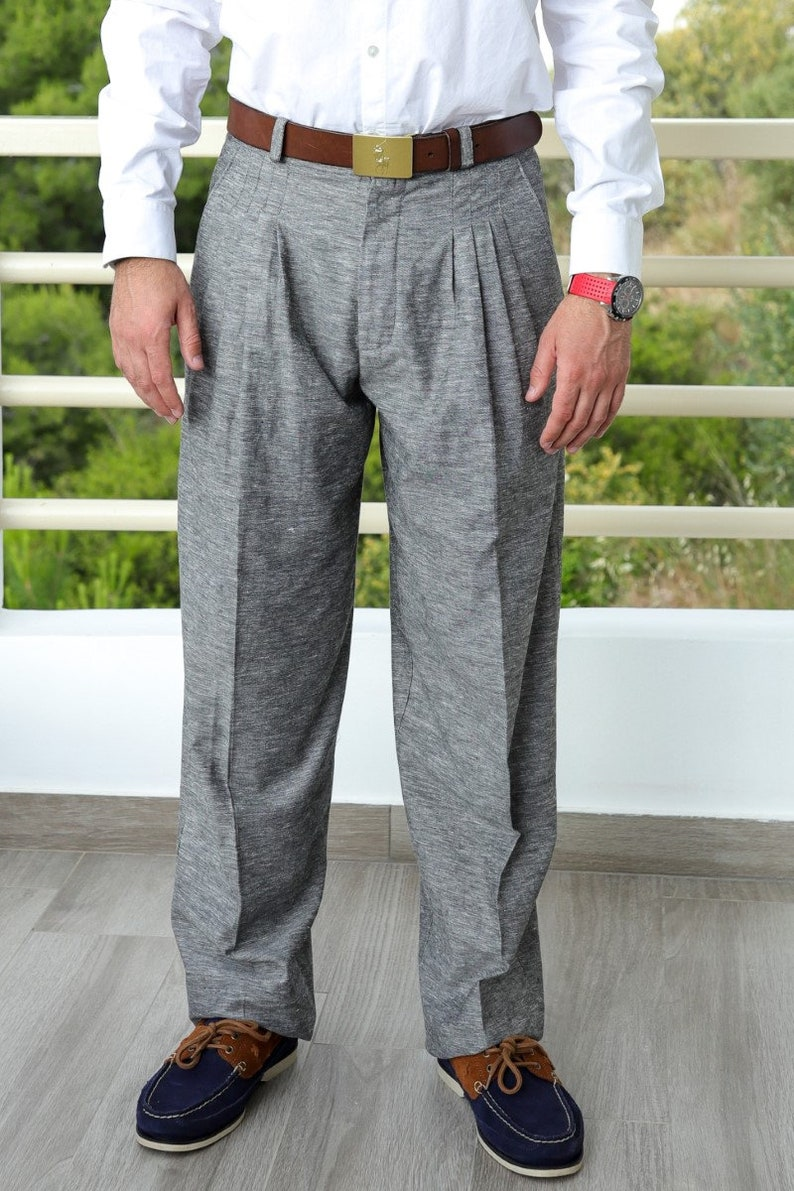 Victorian Men's Hats- Top Hats, Bowler, Gambler Men Tango pants Argentine pants Men gray pants Men linen pants Men baggy pants Linen trousers Men formal pants Dance pants His gift $132.66 AT vintagedancer.com