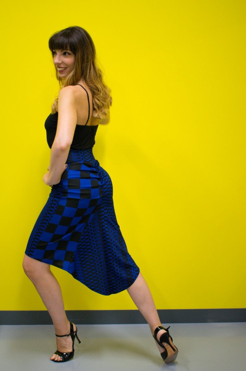 Argentine Tango Skirts Fishtail Tango Skirt In Mixed Print Blue /& Black Fishtail Tango Skirt