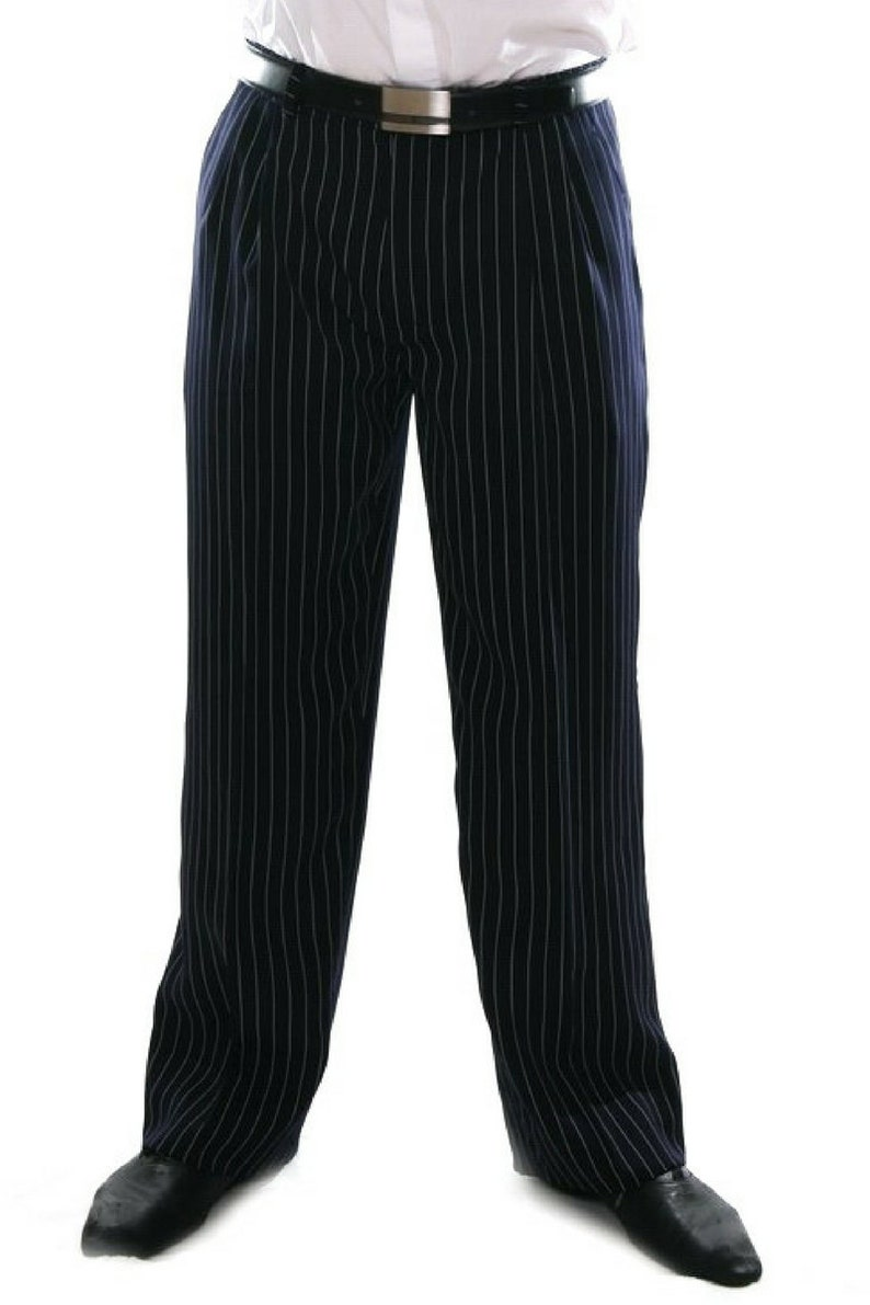 1940s Trousers, Mens Wide Leg Pants Men Tango pants Argentine pants Tango trousers Men pleat pants Blue formal pants Men striped pants Blue straight pants Pocket pants $132.32 AT vintagedancer.com