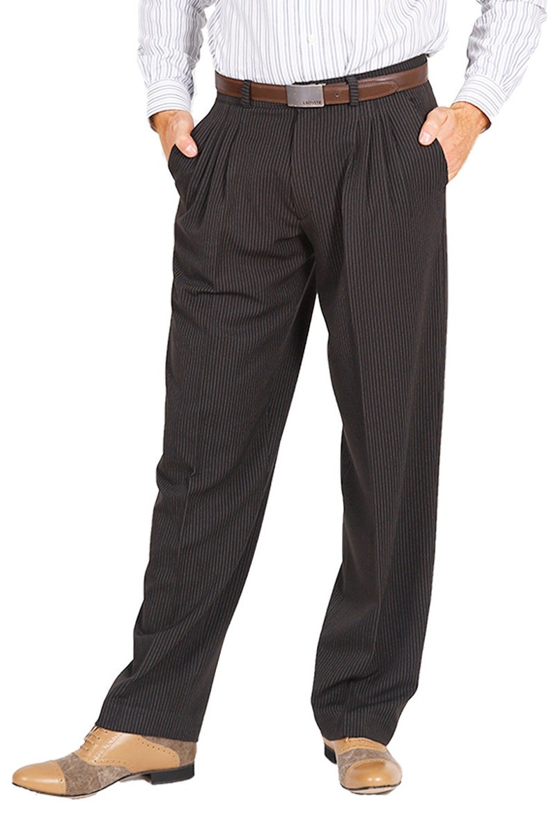 1940s Men's Clothing Tango Pants Men Pants Wide Leg Pants Black Pants Striped Pants Long Pants Tango Trousers Dance Pants Formal Pants Performance Pants $111.14 AT vintagedancer.com