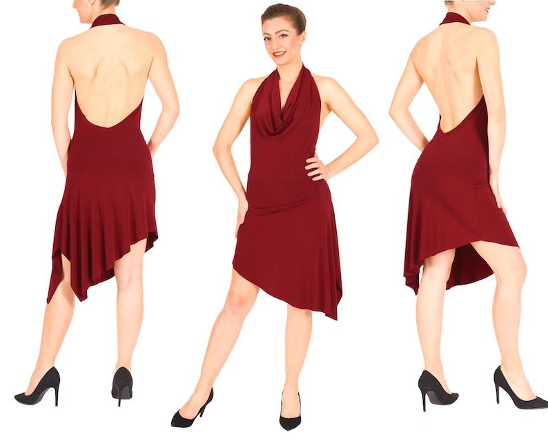 Latin Tango Dress Salsa Dress Burgundy Asymmetric Mini Dance Dress