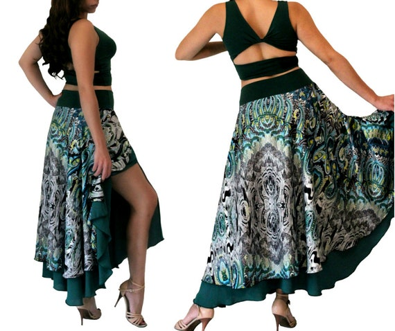 Tango Dance Show Dancing tier Two Skirt Milonga Skirt Social Waltz Ballroom Skirt 56x7Uwqn7Z
