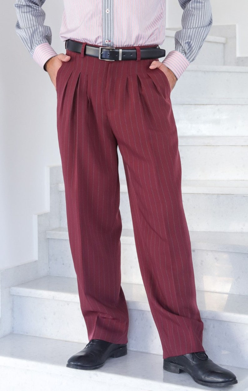 80s Mens Jeans, Pants, Parachute, Tracksuits Men Argentine Tango pants Burgundy men formal pants Men latin dance pants Men wide leg trousers Men loose leg pants Wedding guest pants $131.10 AT vintagedancer.com