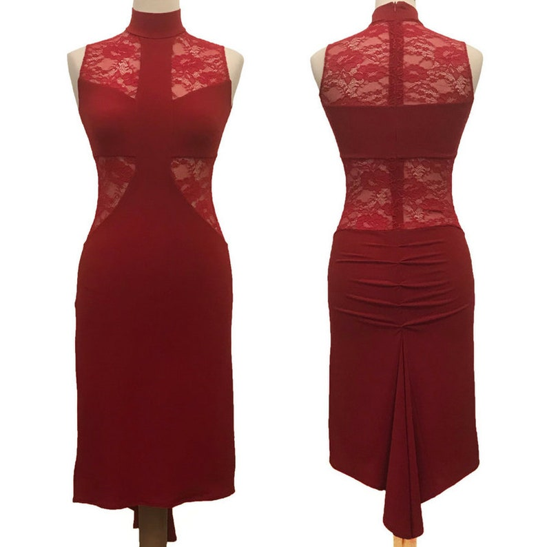 54e4a502f9cb Red Argentine Tango Dress with Fishtail Milonga Dress | Etsy