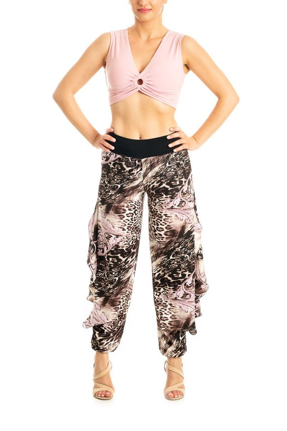 Slits Tango Clothes Trousers Women S Brown Pink Light Milonga With