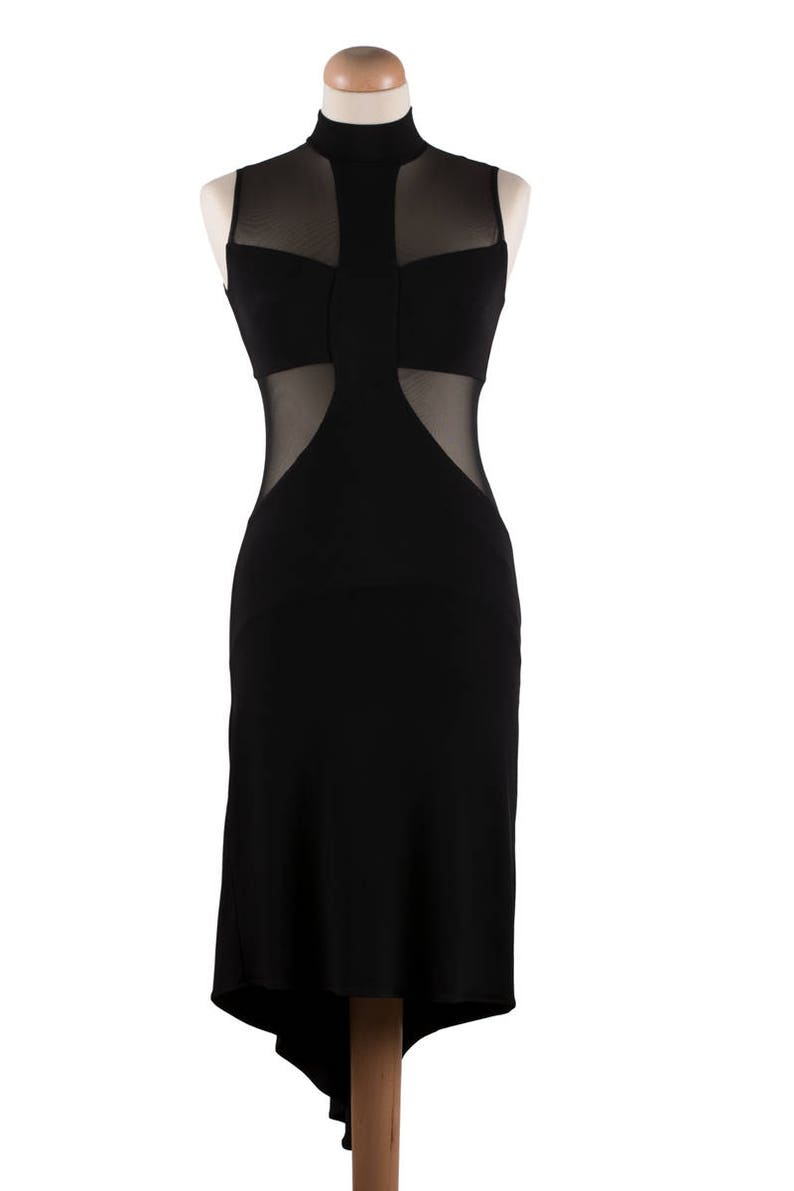 New Year Dress Argentine Tango Dress Cocktail Dress Party Dress Disco Dress Asymmetric Dress Tango Clothes Dance Dress Black Dress
