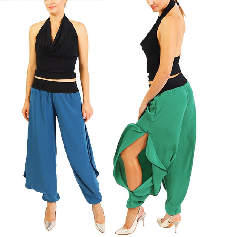 Satin Tango Pants with Slits | Matte Satin Pants | Handmade Argentine Tango  Clothing
