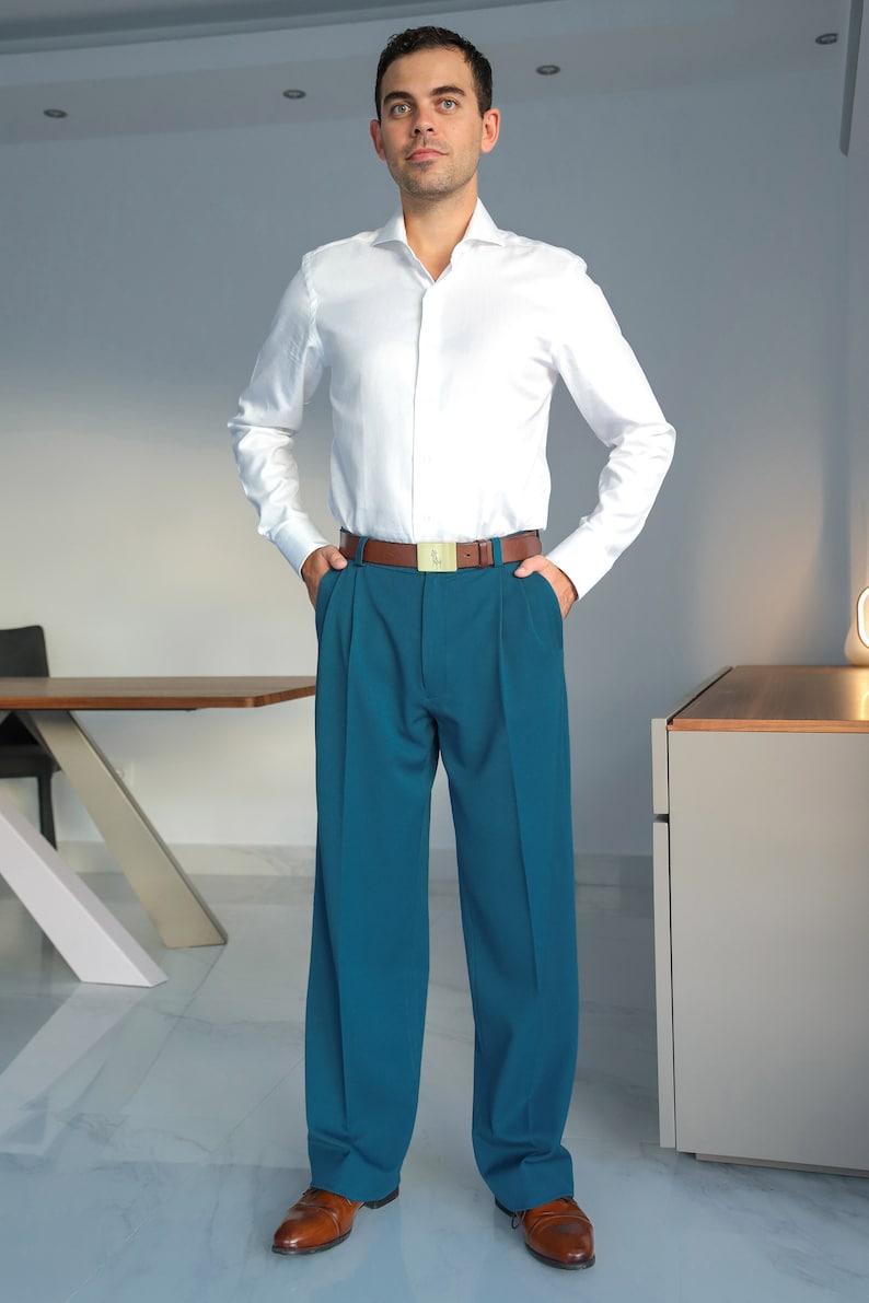 1950s Men's Pants, Trousers, Shorts | Rockabilly Jeans, Greaser Styles Men Argentine Tango pants Men latin dance pants Mens blue formal event pants Mens blue wide leg trousers Men wedding guest pants $139.86 AT vintagedancer.com