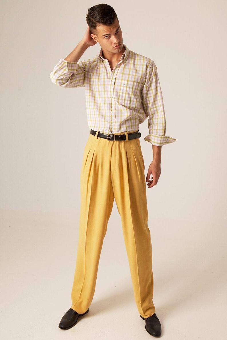 1950s Men's Pants, Trousers, Shorts | Rockabilly Jeans, Greaser Styles Mens Argentine Tango pants Men mustard yellow trousers Men summer linen pants Mens modern pleated pants Mens social dancing pants $182.80 AT vintagedancer.com