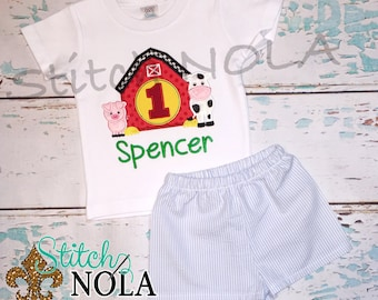 Barn Birthday Shirt, Barn Birthday Outfit, Barn Birthday Shorts Set, Farmhouse applique, Barn Applique, Barn Birthday