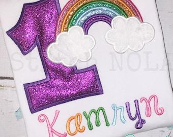 Glitter Rainbow Birthday Shirt, Bodysuit, Gown, Birthday Shirt, Rainbow Applique, Rainbow Birthday Applique, Rainbow Shirt, Rainbow Birthday
