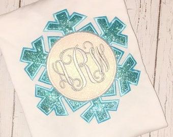 Snowflake Monogram T-Shirt, Romper or Bodysuit, snowflake appliqué, snowflake shirt, winter appliqué, snowflake birthday, snowflake