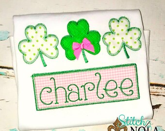 St Patrick's Day Shamrock Trio Applique, Clover Applique, Shamrock Applique, Boy St Patrick's, Girl St. Patrick's, Lucky Applique