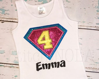 Super Hero Shirt, Super Hero Birthday Shirt, Girl Super Hero, Boy Super Hero, Super Hero Applique, Letter or Number Available