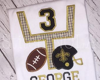 Football Birthday, Saints Birthday Shirt, Black and Gold Goal Post with Fleur de lis Helmet & Football T-Shirt or Bodysuit