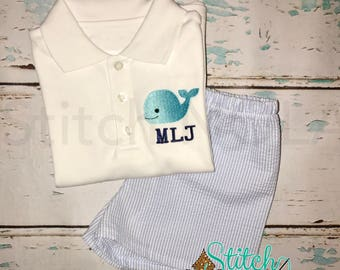 Whale Collarded Shirt & Shorts Set, Whale Shirt and Shorts Set, Whale Shirt, Seersucker Shorts