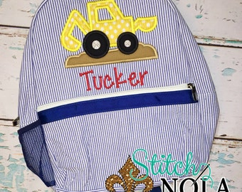 Seersucker Backpack with Construction Digger, Seersucker Diaper Bag, Seersucker School Bag, Seersucker Bag, Diaper Bag, School Bag, Book Bag