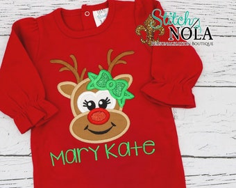 Reindeer with Bow Applique on Red Ruffle Romper, Reindeer Applique, Girl Reindeer Applique