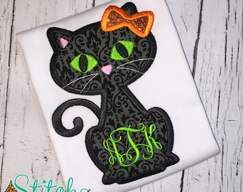 Black Cat Applique, Black Cat Halloween Shirt, Halloween Cat Shirt, Halloween Applique, Cat applique, Cat shirt, Cat with Bow