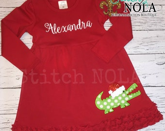 Santa Gator Girl Long Sleeved Red Ruffle Dress