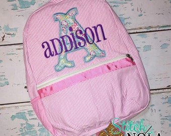 Seersucker Backpack with Letter Applique, Seersucker Diaper Bag, Seersucker School Bag, Seersucker Bag, Diaper Bag, School Bag, Book Bag, Ba