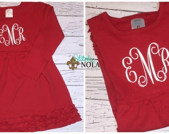 Monogrammed Long Sleeved  Red Ruffle Dress