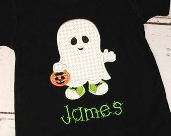 Boy Ghost Shirt, Romper or Bodysuit, Halloween Applique, Ghost Applique, Ghost Romper, Halloween Shirt, Ghost Shirt