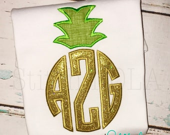 Pineapple monogram Shirt, Bubble, Romper or Bodysuit, Pineapple Applique, Pineapple Shirt, Tutti Fruitti Birthday, Personalized Pineapple