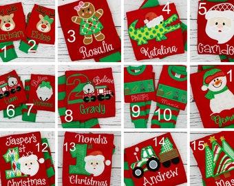 Personalized Christmas Pajamas, Monogrammed Christmas Pajamas, XMAS PJs, Christmas PJs, Christmas Applique, First Christmas Pajamas, Pajamas