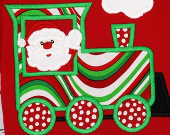 Christmas Train with Santa Applique, XMAS Train Applique, Santa Train Applique, Santa Applique, Christmas Shirt, XMAS Pics