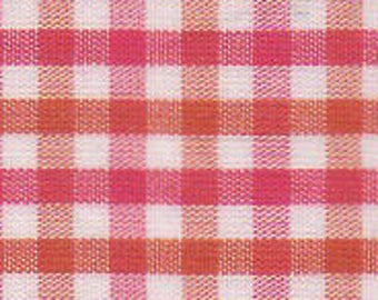 Orange and Raspberry Check Fabric Fabric Finders,100 percent cotton, Orange and Raspberry Check Gingham Fabric, Orange and Pink Check
