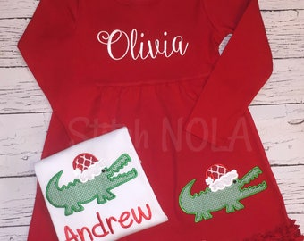 Santa Gator Christmas Shirt, Christmas Dress, Sibling Christmas Set, Alligator Applique, Santa Alligator Applique, Boy XMAS, Girl XMAS
