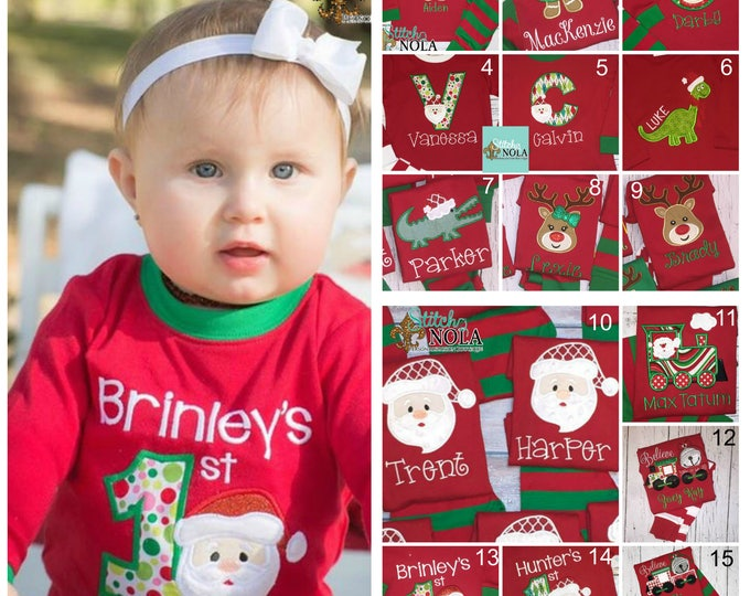 Featured listing image: Christmas Pajamas, XMAS Pajamas, XMAS PJs, Christmas Applique, Pajamas, Kids Christmas Pajamas, Santa Pajama, Baby's 1st Christmas, 1st XMAS