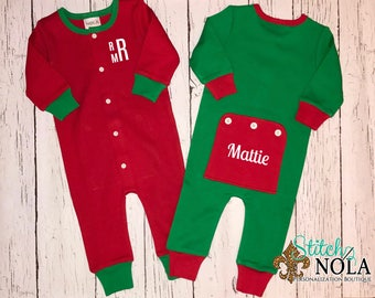 Christmas Pajamas, Christmas Rompers, One Piece Sleeper, One Piece Pajamas, Christmas Bodysuit, Faux Drop Seat Romper, Faux Drop