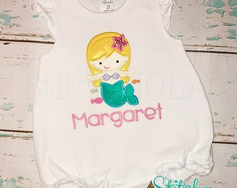 Mermaid Shirt, Bubble, Romper or Bodysuit, Mermaid Applique, Lemonade Shirt, Mermaid