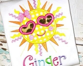 Sun with Glasses Applique Shirt, Bubble, Romper or Bodysuit, Sun Applique, Sun Shirt, Sunshine Birthday, Personalized Sun Shirt