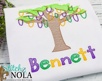 Mardi Gras Bead Tree Sketch Embroidery, Mardi Gras Bead Tree Sketch Embroidery, Bead Tree, Mardi Gras Shirt