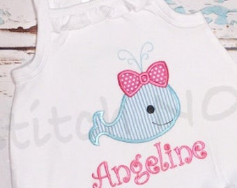 Girly Whale Bubble with Embroidered Name, Tee, Gown, or Bodysuit, Personalized Whale Bubble with Name