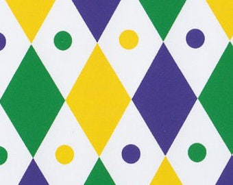 Mardi Gras DIAMOND Fabric – Purple, Green and Gold Diamond, Fabric Finders, 100% Cotton, Mardi Gras Fabric