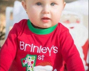 PRE-ORDER Baby's 1st Christmas Applique, Personalized Christmas Pajamas, Kids Christmas Pajamas, Polar Express Pajamas, XMAS Pajamas, Monogr