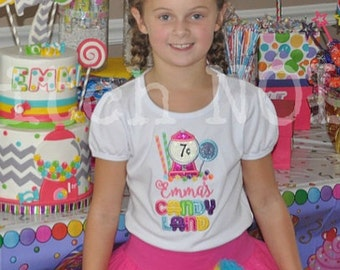 Sweet Shop, Candyland, lollipop Birthday Shirt or Bodysuit