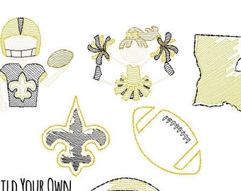 Black and Gold Football Build Your Own Football Trio Sketch Embroidery, Football Shirt, Black and Gold Football