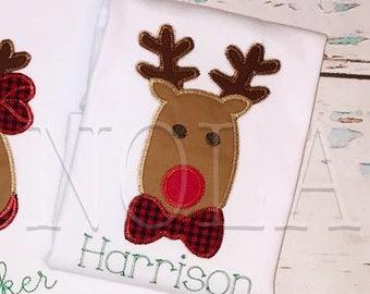 Mr Red Nosed Reindeer, Boy Reindeer Applique, Reindeer, Christmas Shirt, Boy Christmas Shirt, Boy Reindeer Shirt, Reindeer with Bowtie