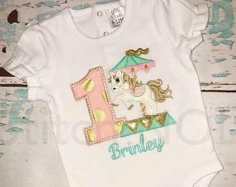 Birthday Carousel Horse Tee or Bodysuit, Carousel Horse Applique, Horse Applique, Carousel Applique, Birthday Shirt, Unicorn Applique