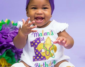 Mardi Gras Birthday Applique, Baby's 1st Birthday Mardi Gras, Mardi Gras Fleur de lis Applique, Fleur de lis Applique , Mardi Gras Applique,