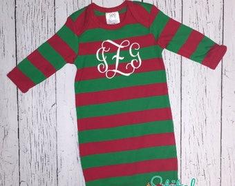 Christmas Pajamas, Pajamas, SHIpS FAST! Monogrammed Christmas Pajamas, Christmas Gown, XMAS Pajamas, Monogrammed XMAS Pajamas, Monogrammed