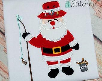 Fishing Santa Shirt, Fishing Santa Applique, Christmas Fishing Shirt, Santa Applique, Santa Christmas Shirt,  Boy Christmas Applique